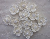 12pc Beaded Fabric Flower Applique Baby Doll Cream Ivory Satin Rbbon w Pearl Hair Bow