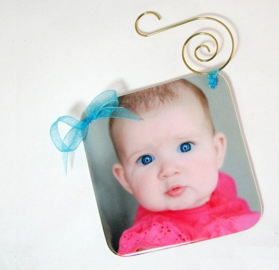 Christmas Photo Ornament - One-sided, Handmade Holiday Decoration - OOSR