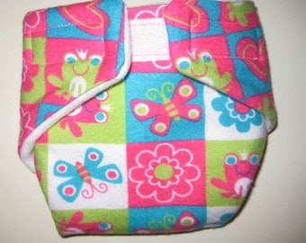 Baby Doll Diaper/Wipe-Hearts,Flowers and Butterflys-Fits Bitty Baby, Baby Alive, Cabbage Patch Dolls and More