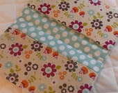 CUSTOM MADE to Order Checkbook cover or Coupon Organizer with flowers and aqua polka dots floral