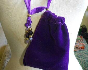 "Reversible Royal Purple Velvet Lavender Sateen Necklace Pouch Adjustable Length - Extra Large Size 15 x 11.5 cm. (6"" x 4 1/2"") OlyTeam"