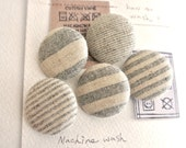 Nautical Natural Grey Gray Cream Stripes Fabric Covered Buttons, Cream Gray Stripes Fridge Magnets, Flat Backs, CHOOSE SIZE 5's