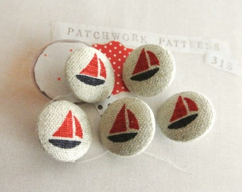 Fabric Buttons, Small Dark Navy Beige Red Nautical Ship Fabric Covered Buttons, Flat Backs Buttons, 0.75 Inches 5's