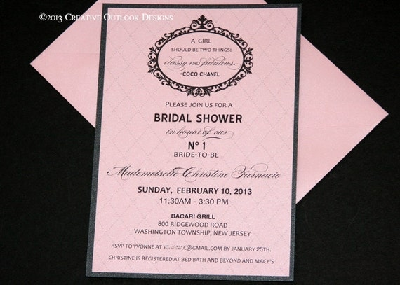 Pink and Black Classy & Fabulous Bridal Baby Birthday Invitation