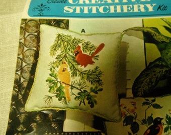 Floral Crewel Kit Needlepainting Pillow Kit Cardinals Creative Stitchery Kit 474A Vogart Crafts