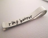 Personalized Ring Bearer Tie Bar - Short Tie Clip - Hand Stamped Tie Clip - Aluminum Tie Bar - Ring Bearer Gift