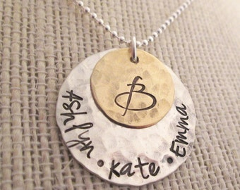 Personalized Jewelry -Family Necklace - Mothers Necklace - hand stamped jewelry - Personalized Necklace - Mom Necklace - Custom Name
