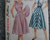 Vintage 1951 50s feminine DRESS pattern 12 30 bust XS