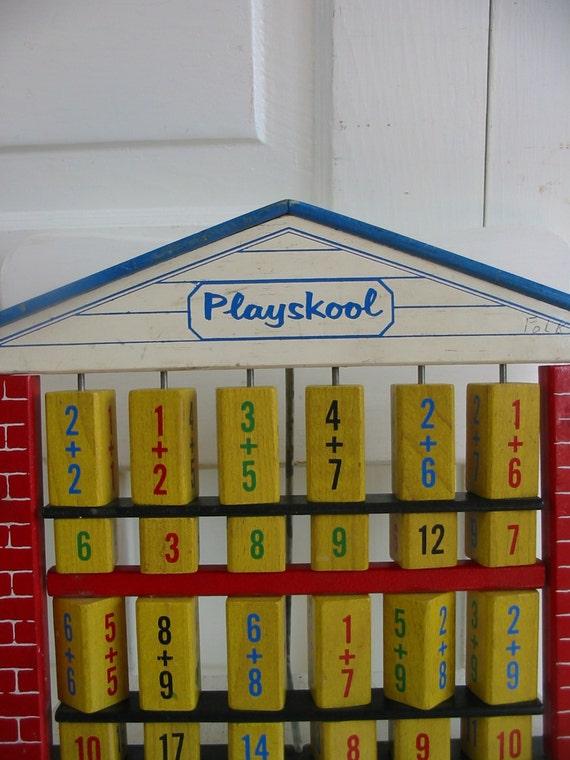Vintage Playskool Wood Toy Math School Children Numbers Addition