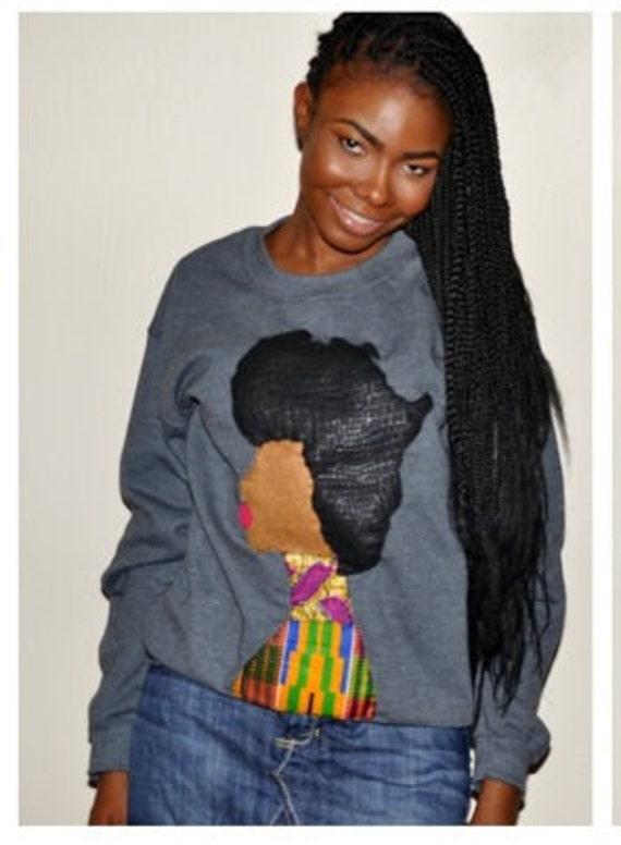 Afro Woman Sweatshirt (Gray)