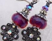 Clamor- Artisan Boro Lampwork, Sterling and Crystal Earrings- Cynensemble