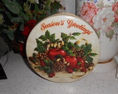 Vintage Round Christmas Tin Can Greenery Pinecones Apples Berries