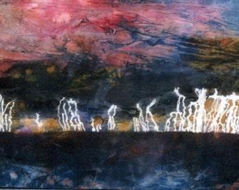 "ACEO print of original acrylic ink ""Silent Thunder"" sea storm lightening seascape"