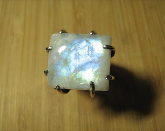 Rainbow Moonstone Adjustable Claw Ring