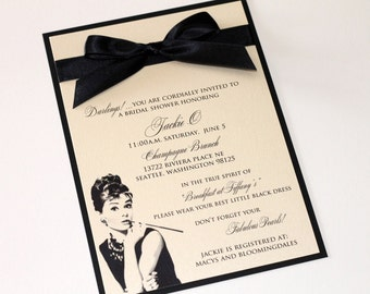 Audrey Hepburn Bridal Shower Invitation - Breakfast at Tiffanys invitation - Ivory and Black - Sample