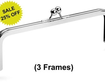 """3pcs - 8"""" x 3"""" Nickel Purse Frame with Standard Ball Clasp - Free Shipping (PURSE FRAME FRM-104)"""
