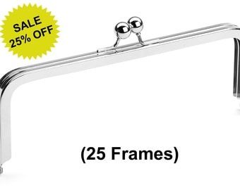"25pcs - 8"" x 3"" Nickel Purse Frame with Large Ball Clasp - Free Shipping (PURSE FRAME FRM-108)"