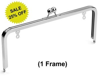 """1pc - 10"""" x 4"""" Nickel Purse Frame with Ball Clasp and Chain Loops - Free Shipping (PURSE FRAME FRM-124)"""