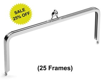 "25pcs - 10"" x 4"" Nickel Purse Frame with Teardrop Clasp - Free Shipping (PURSE FRAME FRM-132)"