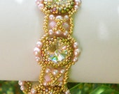 Rivoli Bracelet  Pink Gold Beadwoven Beaded Beadwork Beadweaving Jewelry Unique  June Bride