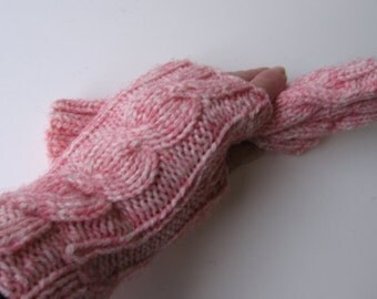 Pink  Red or Blue Hand Knit Fingerless Gloves with White Fibers