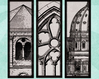 VINTAGE ARCHITECTURE Digital Collage Sheet 1x3in Churches Castles - no. 0206