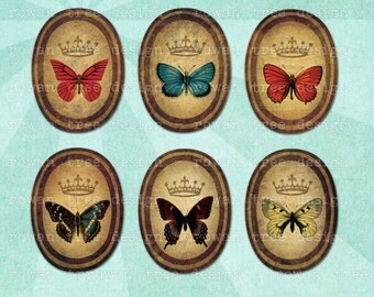 Digital Collage Sheet BUTTERFLY COLLECTION 30x40mm Ovals - no. 0146