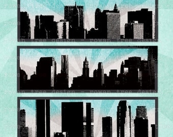 Digital Collage Sheet CITY SKYLINES 3x1in Urban Skyscrapers - no. 0212