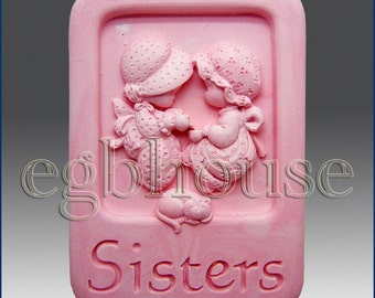 2D Silicone Soap Mold - Sisters no. 2- Free Shipping