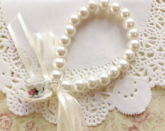 Teacup charm bracelet - Pearl bead, ribbon and charm bracelet - ivory - Tea party - bridesmaid - flower girl