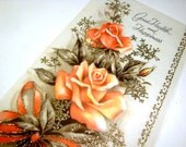 Vintage Greeting Card, Good Health and Happiness,  Orange Roses, Gold Glitter, Coronation, Unsigned, Envelope Included, Flowers  (138-13)