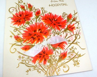 Vintage Greeting Card, Welcome Home From The Hospital, Charm Craft, Orange Flowers, Floral, Card Making, Paper Project, Scrapbook   (147-13)