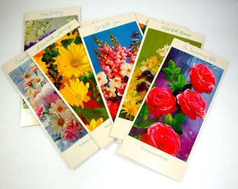 Set Vintage Assorted Greeting Cards, Retro, Flowers, Daisies, Yellow, Pink, Purple, A Sunshine Card, Happy Birthday, Get Well, Anniversary,