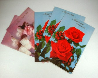 Lot of Vintage Greeting Cards, Sympathy, Get Well Cards, Set of 5, Unsigned, Red Rose, Pink Rose, Flowers, Retro  (661-13)