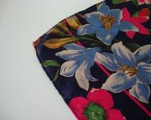 Echo scarf Echo shawl Vintage Scarf vintage shawl silk shawl silk scarf navy blue garden flower echo club 7 wildflower purple flower pink