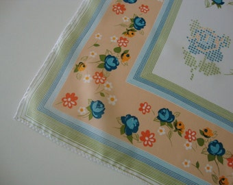 Vintage Scarf large scarf square scarf white scarf blue flowers orange flowers cross stitch roses homespun peach scarf snow white