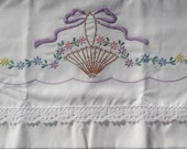 Sew Pretty Pillowcases -Basket with Purple Ribbon- Set of 2