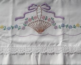 Sew Pretty Pillowcases -Basket with Purple Ribbon- Set of 2