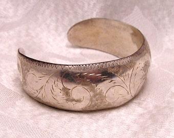 Vintage Engraved Sterling Cuff Bracelet J122