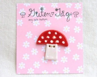 Mushroom Button in Stoneware with Red Polka Dot Glaze