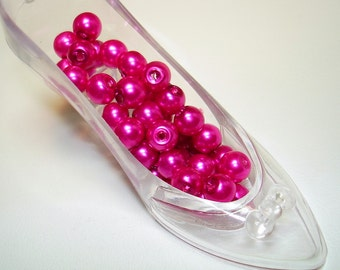 Hot Pink Glass Pearl Round Beads (Qty 35) - B1783