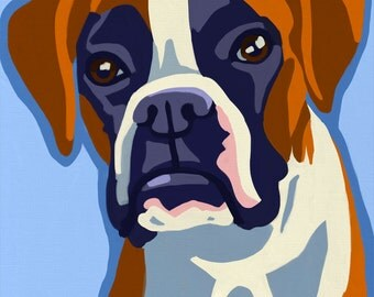 Pop Art Boxer Dog Print of Painting