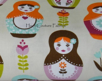 Little Matryoshka Russian Stacking Dolls C3310 Cream by Carly Griffith for Riley Blake Fabrics