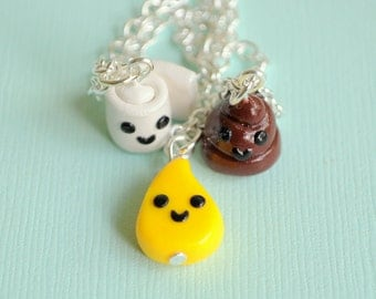 3 Best Friends Necklace Set Pee, Poop, Toilet Paper Charms, BFF Necklaces, Couples Jewelry, Novelty Gift