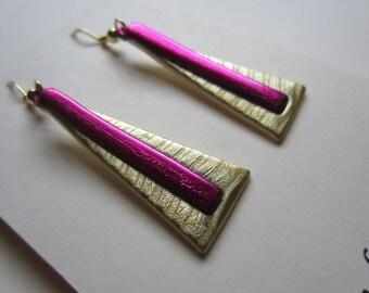 Gold and Fuchsia Geometric Modern Earrings dangle