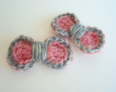 Two-Tone Crochet Bow Hair Clips - Set of 2