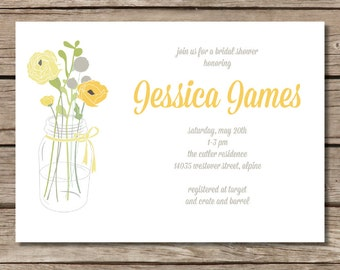 Mason Jar Bouquet Bridal Shower Invitation - Yellow and Gray