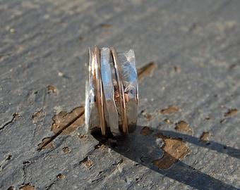sterling silver spinner ring- 3 bands, 1 gold, 2 hammered sterling
