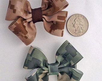 USMC Desert Digital or Army ACU Grosgrain Small Pinwheel Hair Bow
