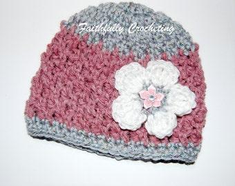 OOAK Newborn Hat.... Ready to ship.... Crocheted Flower